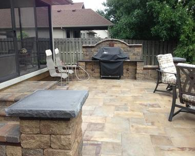 stone paved grill area